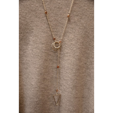 Silver Triangle Lariat Necklace- Sunset