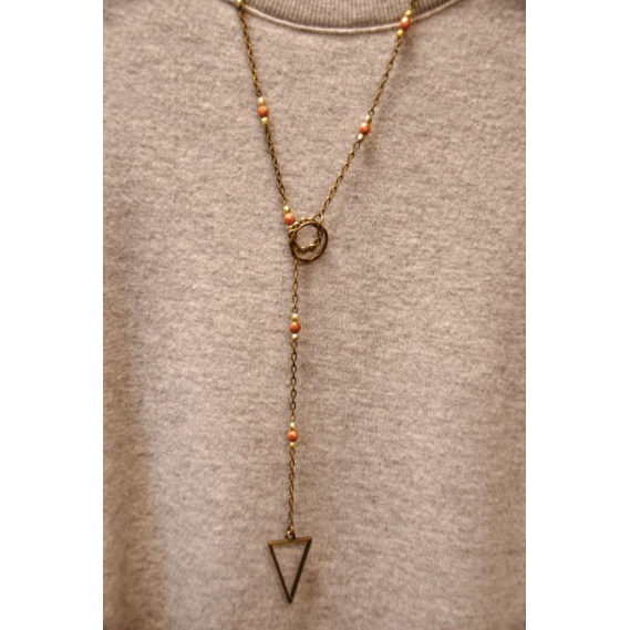 Dark Amber Bronze Triangle Lariat