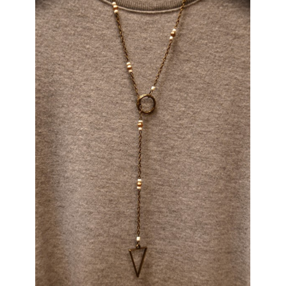 Bronze Triangle Lariat Necklace- White and Gold