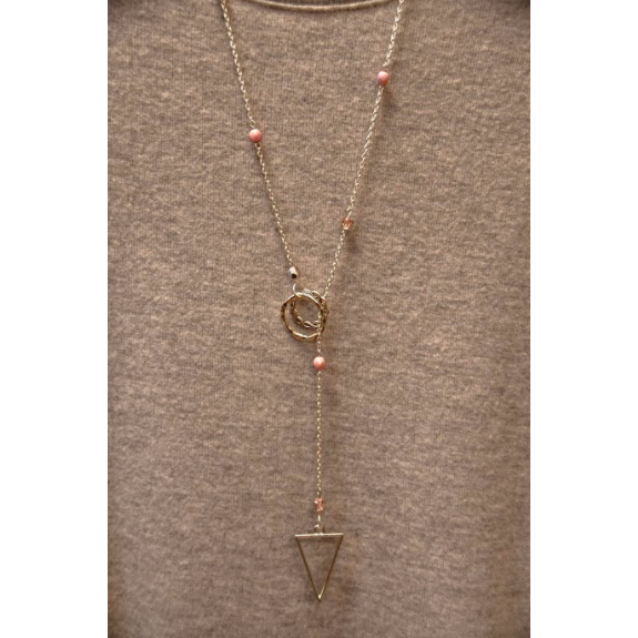 Silver Triangle Lariat Necklace- Pink
