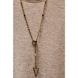 Bronze Triangle Lariat Necklace- Wine