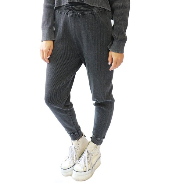 Charcoal Acid Wash Thermal Joggers