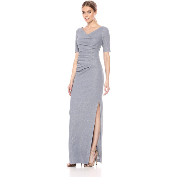 Ruched V-neck Column Dress With Slit