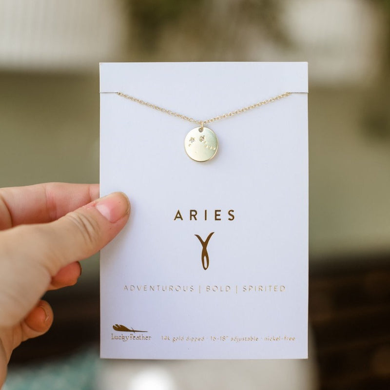 Lucky Feather Zodiac Necklace - Aries