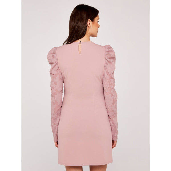 Sheer Puff Sleeve Bodycon Dress