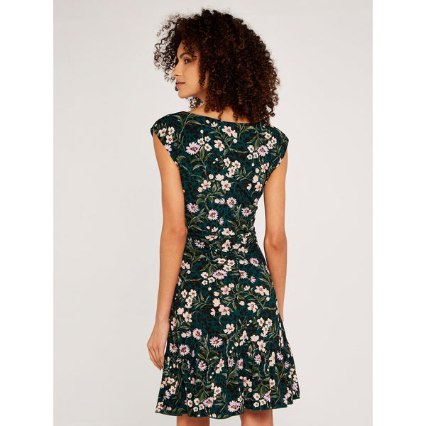 Floral Tie Front Ruffle Dress