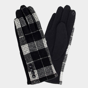 Button Detail Plaid Gloves