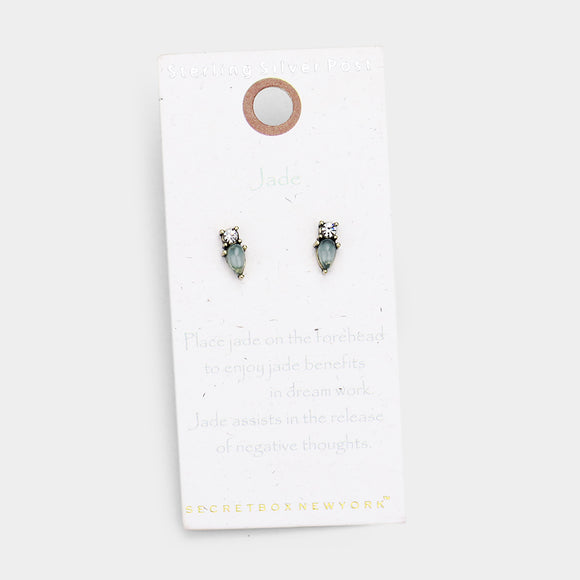 Jade Sterling Silver Post Earrings