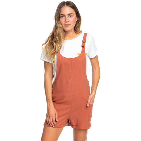 Follow The Hills Linen Overalls Romper