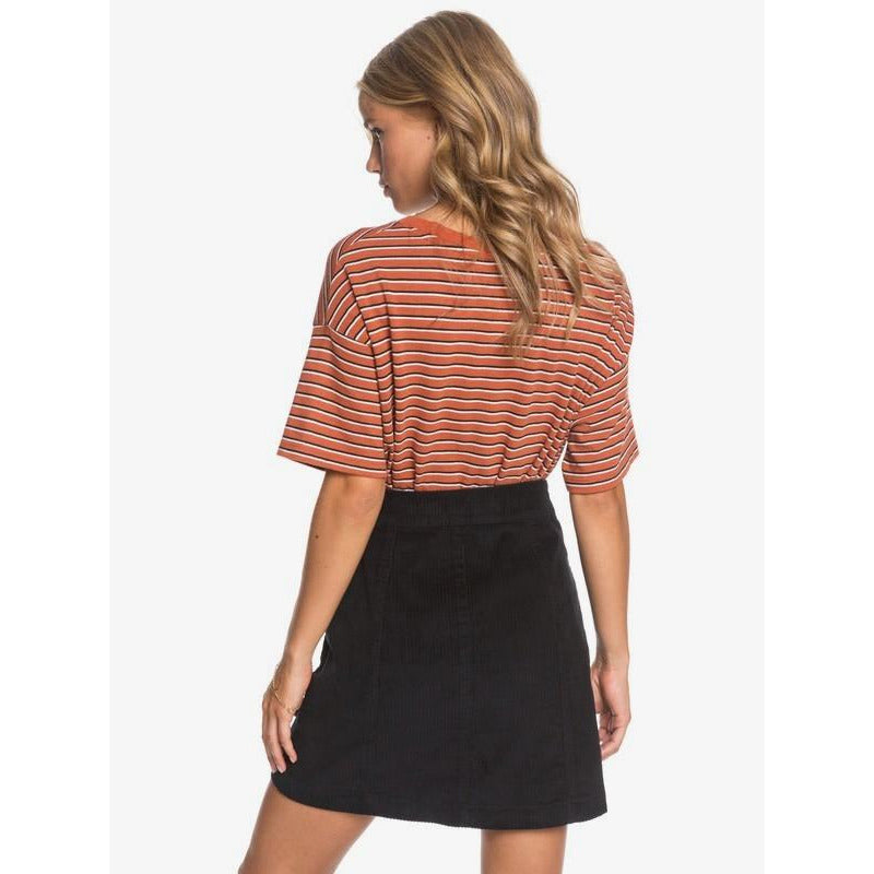 Warning Sign Buttoned Corduroy Skirt