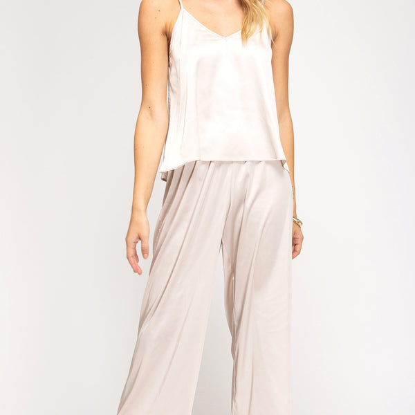SATIN CAMI AND PANTS PAJAMA SET