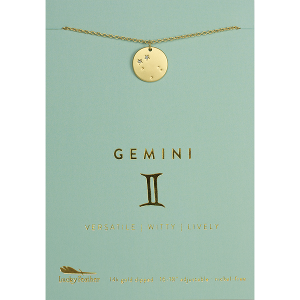 Lucky Feather Zodiac Necklace - Gemini