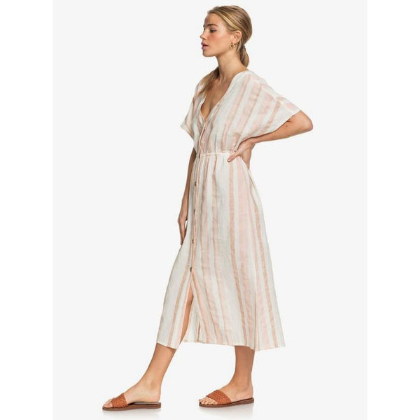 Roxy Joyful Noise Buttoned Linen Dress