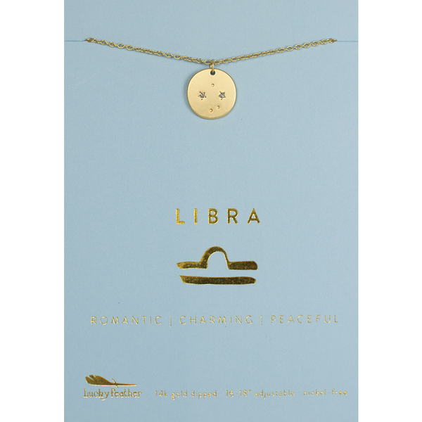 Lucky Feather Zodiac Necklace - Libra