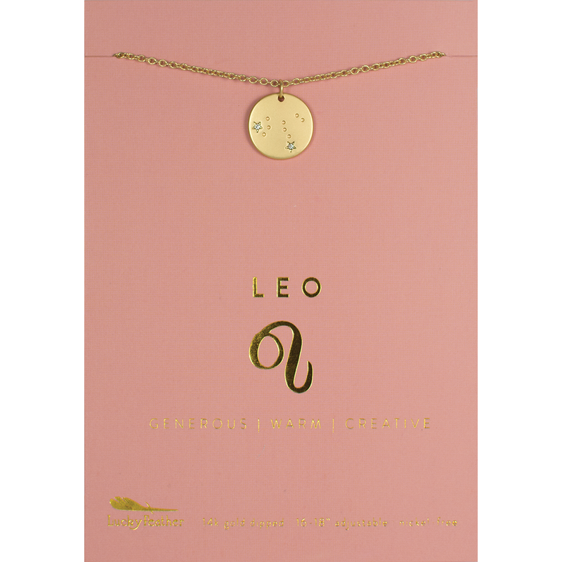 Lucky Feather Zodiac Necklace - Leo