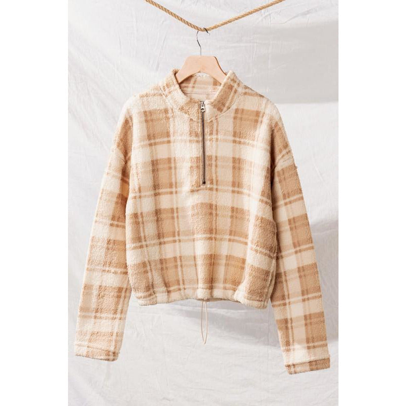 Checkered Half-Zip Fleece