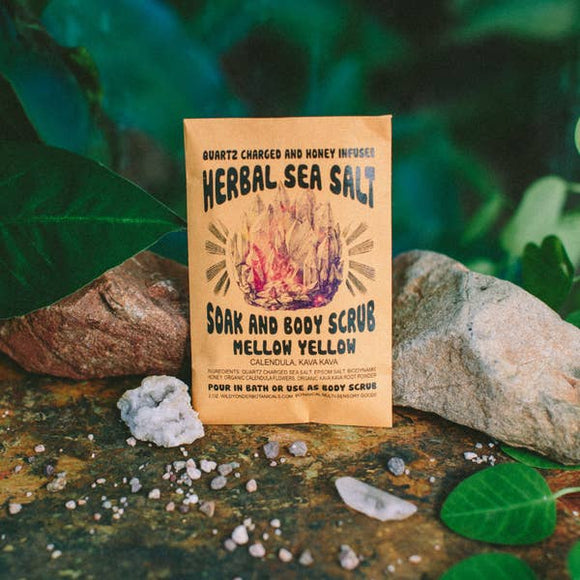 Wild Yonder Botanicals - 5 BLENDS / Gem Honey infused Mineral Soak/Scrub: Mellow Yellow