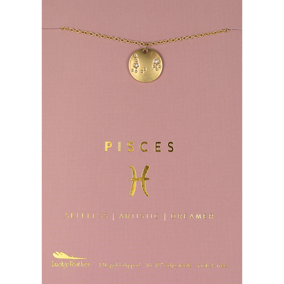 Lucky Feather Zodiac Necklace - Pisces