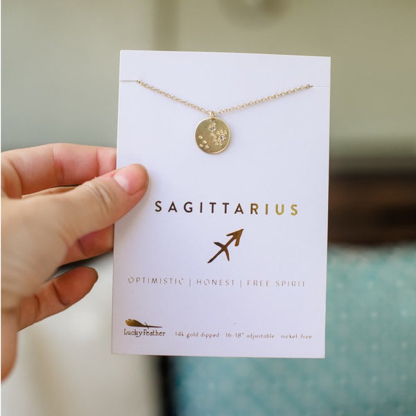 Lucky Feather Zodiac Necklace - Sagittarius