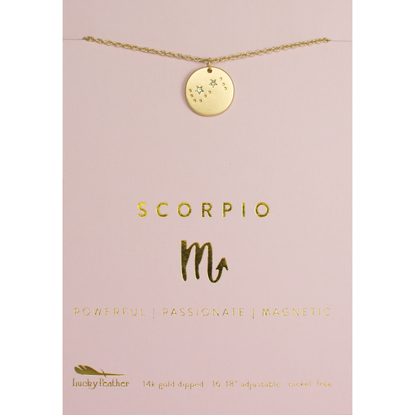 Lucky Feather Zodiac Necklace - Scorpio
