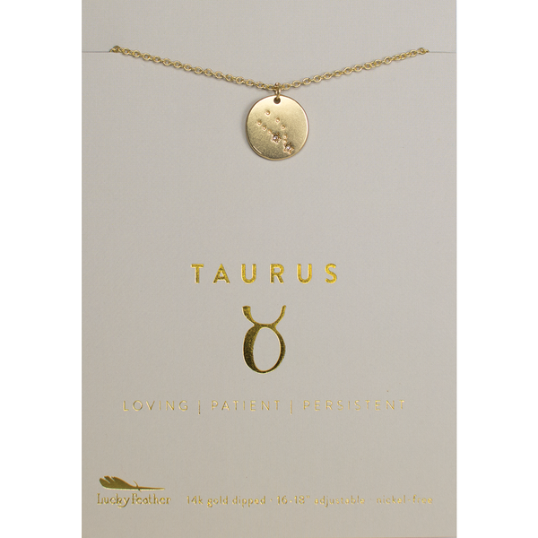 Lucky Feather Zodiac Necklace - Taurus
