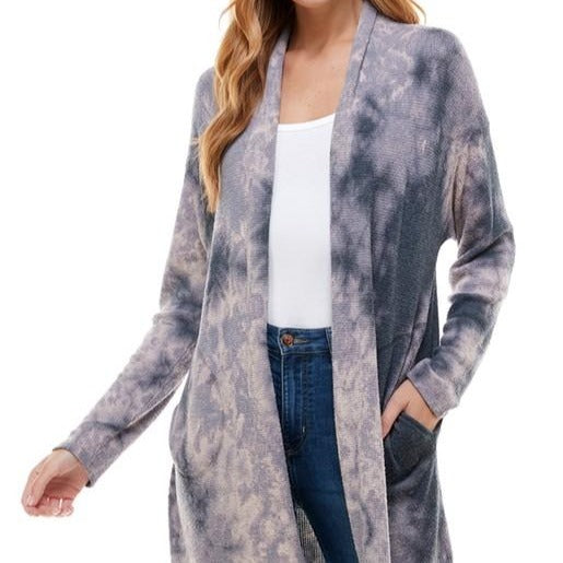 Tie Dye Side Pocket Open Cardigan
