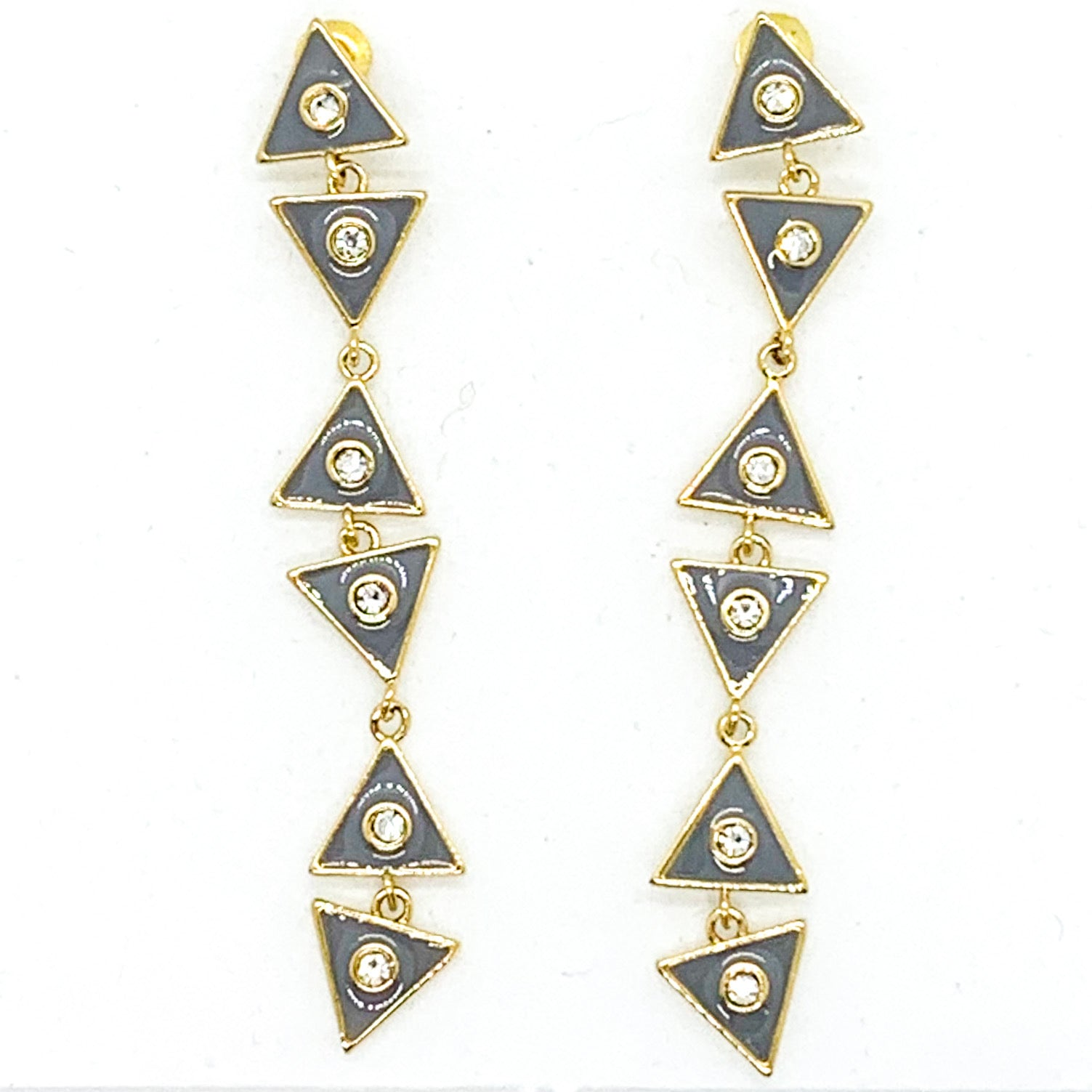 Triangle Dangle Earrings - Gray