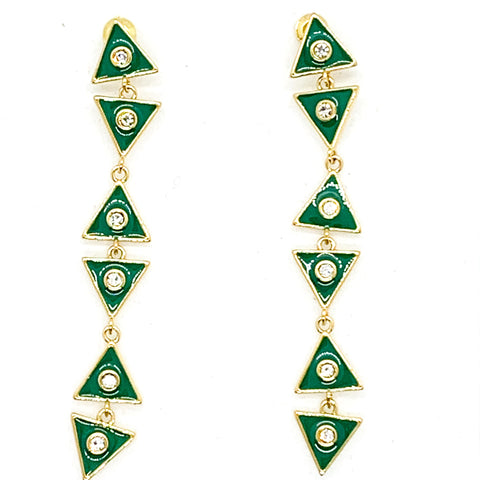 Triangle Dangle Earrings - Emerald