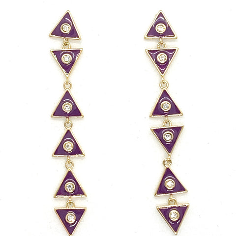 Triangle Dangle Earrings - Eggplant