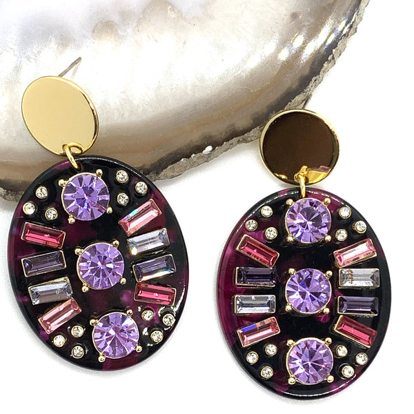 Abstract Oval Earrings - Purple QuayL Designs