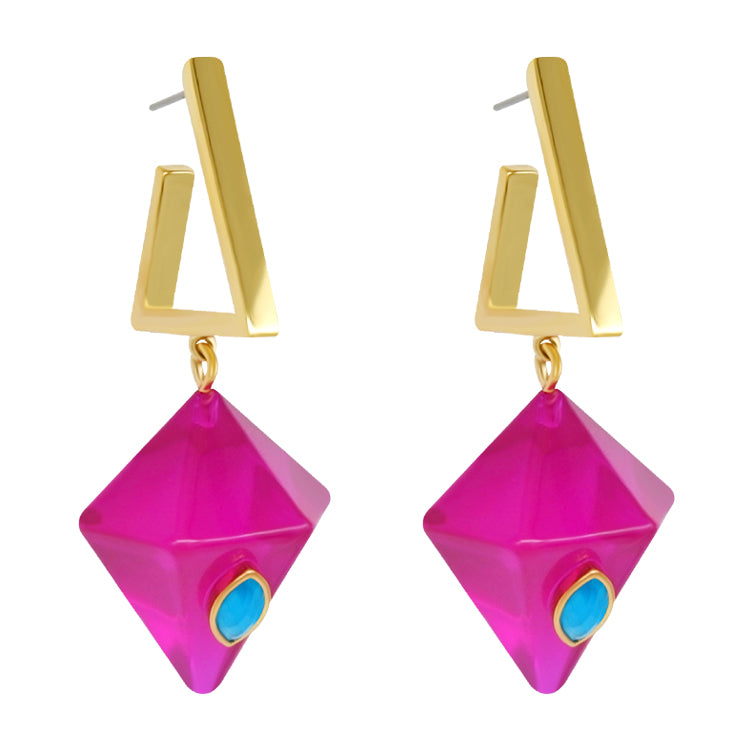 Geo Prism Earrings - Magenta