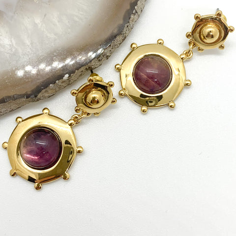 Double Drop Earrings Amethyst QuayL Designs
