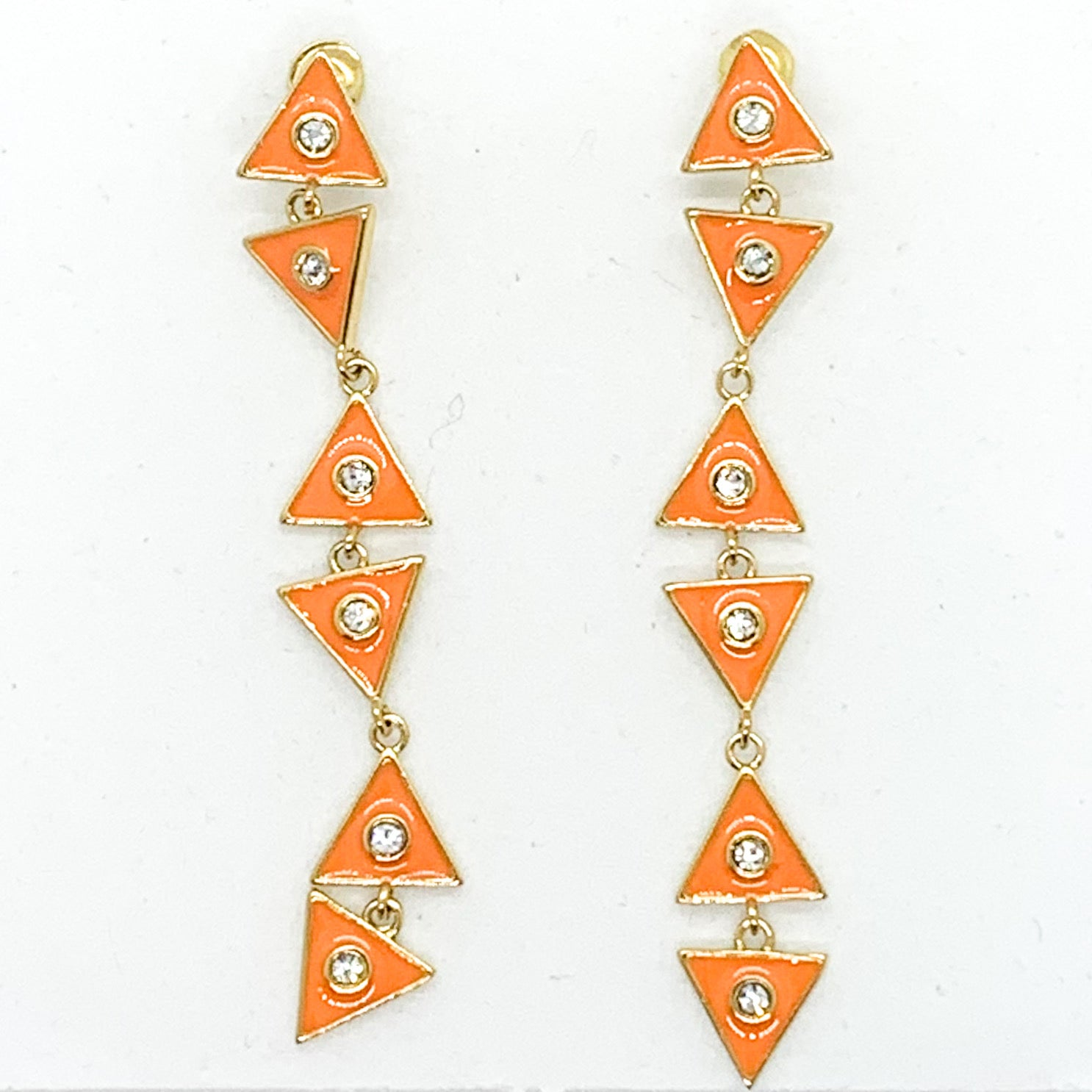Triangle Dangle Earrings - Tangerine