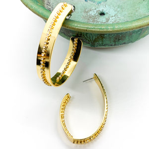 Running Pave Hoop Earring - Gold