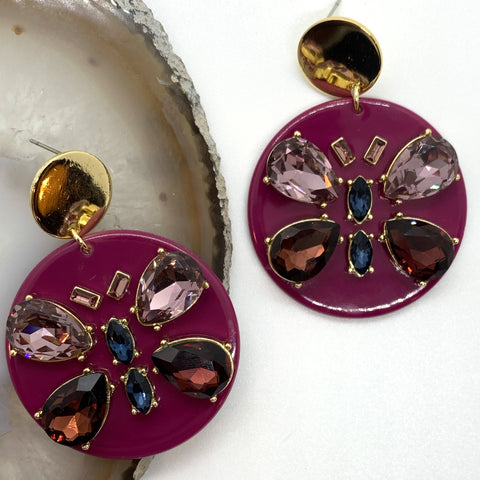 Magenta Butterfly Round Earrings QuayL Designs