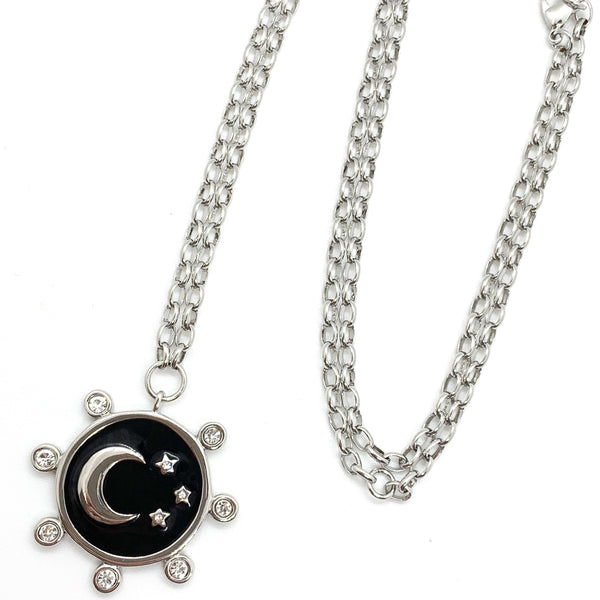 The Stars and The Moon Necklace in Rhodium
