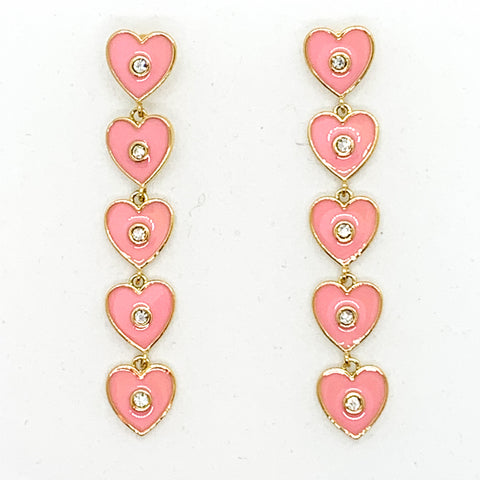 I Heart You Earrings - Light Pink
