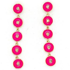Round and Round Earrings - Hot Pink