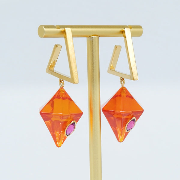 Geo Prism Earrings - Orange