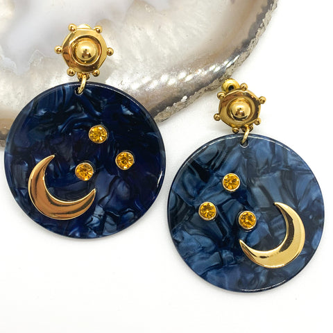 Take Me to the Moon Earrings - Navy
