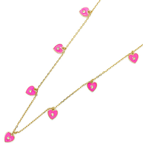 I Heart You Necklace - Lipstick Pink