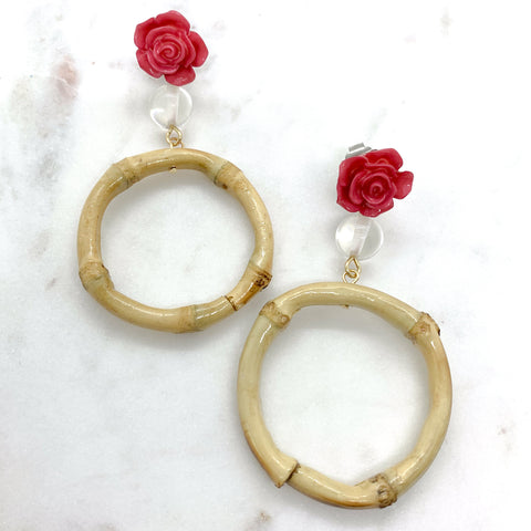 Bamboo Rose Earrings in Hot Pink