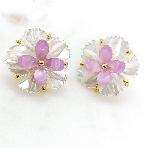 Flower and Resin Stud Earrings - Lavender