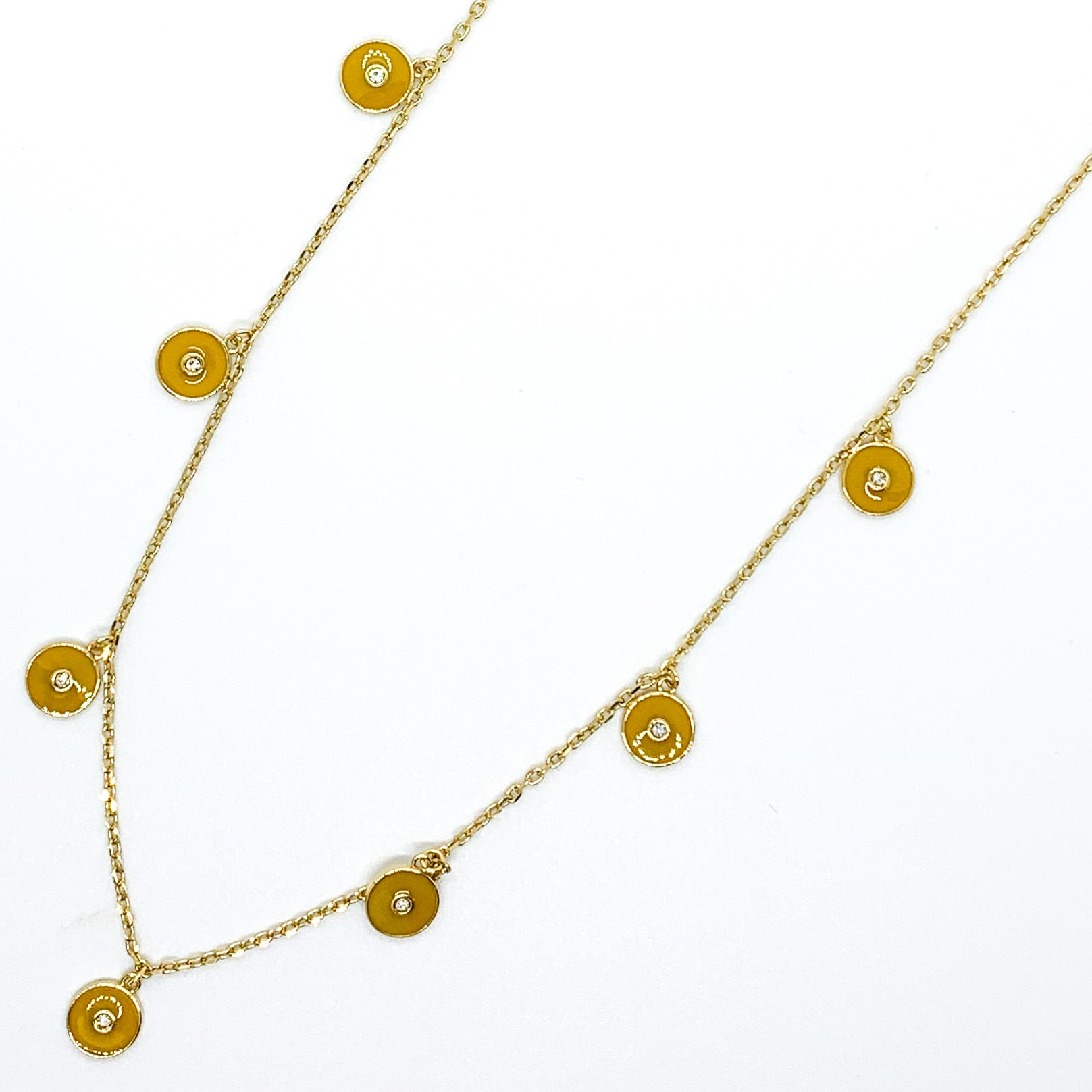 Round and Round Necklace - Mustard