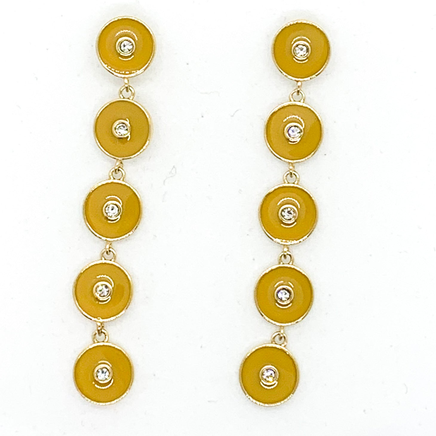 Round and Round Earrings - Mustard