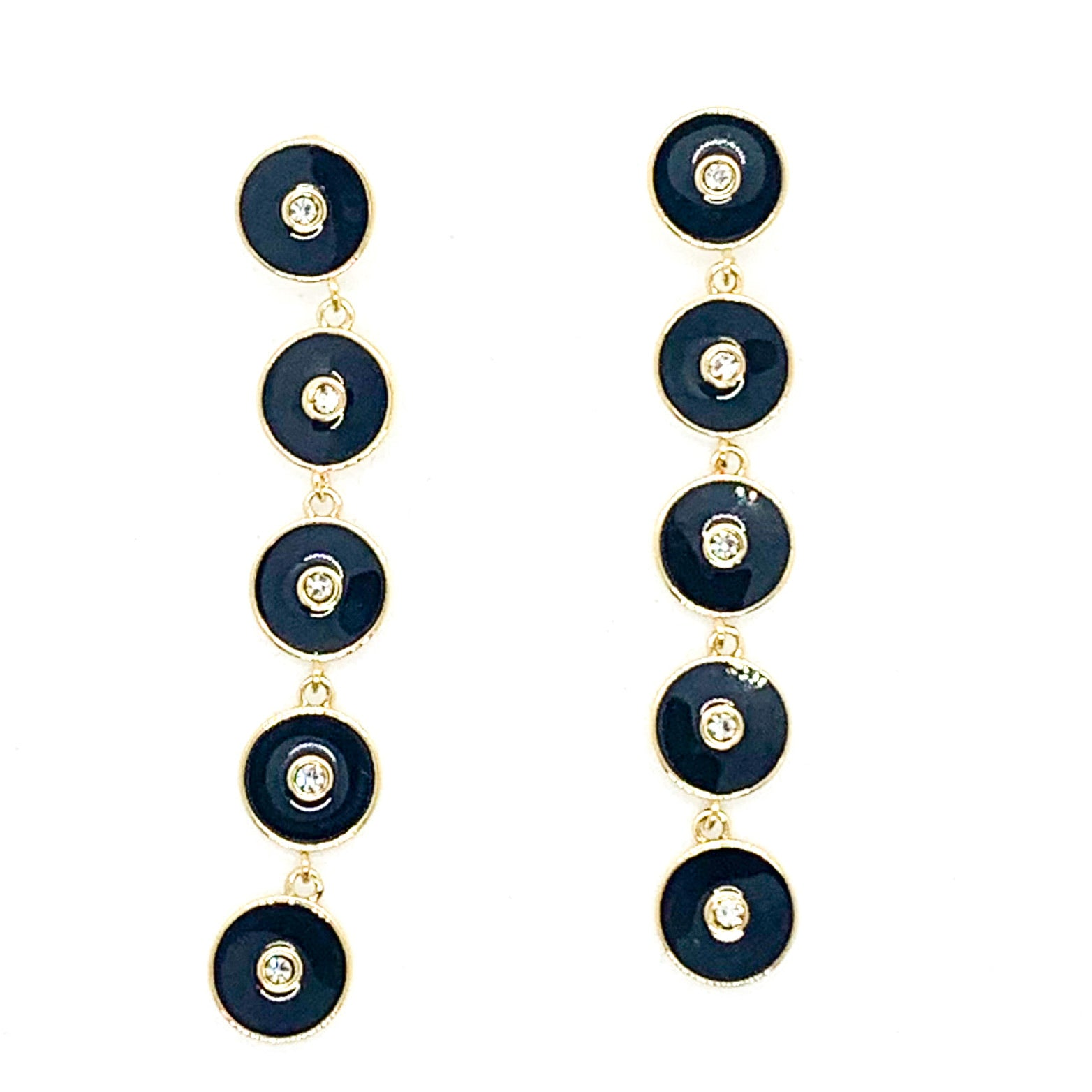 Round and Round Earrings - Black