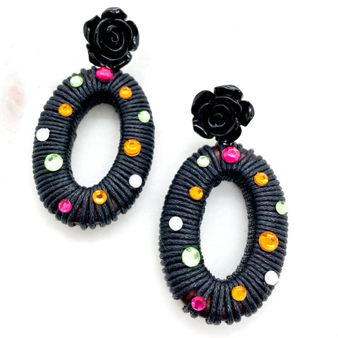 Rosey Wrapped Earrings - Black