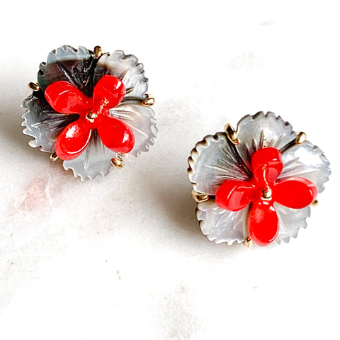 Flower and Resin Stud Earrings - Shell/Red