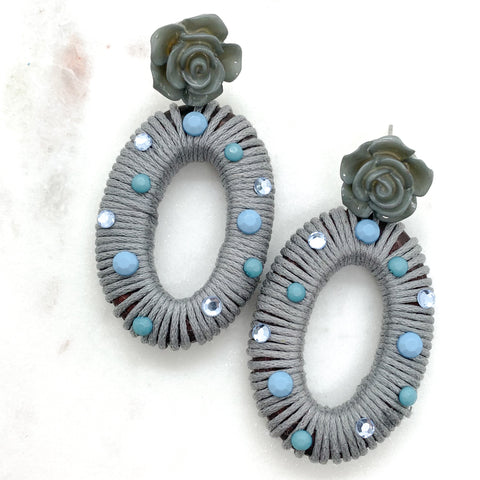 Rosey Wrapped Earrings - Gray