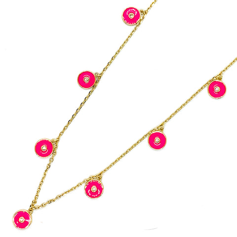Round and Round Necklace - Hot Pink